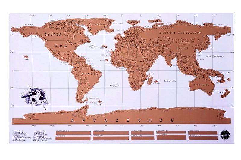 Stírací mapa světa Deluxe 86 x 52 cm