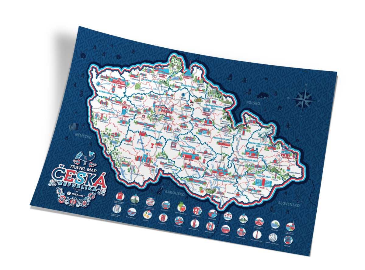 Stírací mapa Travel Map Česká republika, 60 x 40 cm