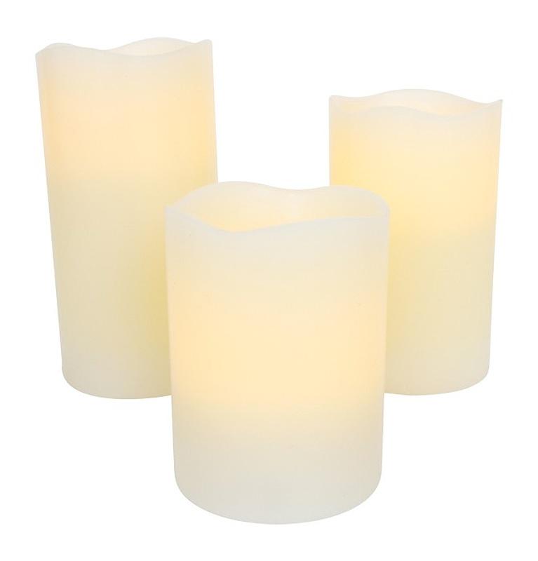 LED svíčky na dálkové ovládání, Sada 3 ks