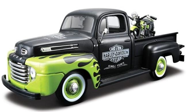 Maisto Harley Davidson Ford F-1 Pickup + FL Phanhead Black