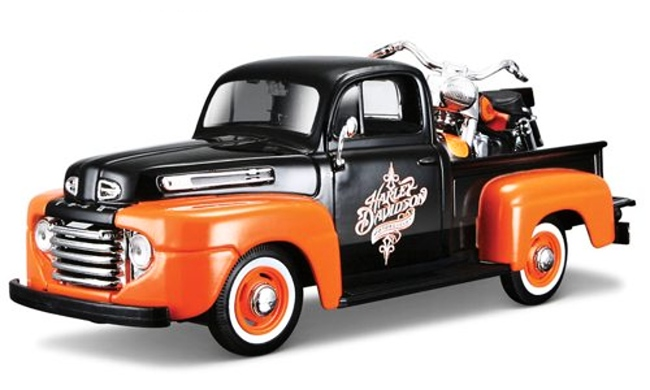 Maisto Harley Davidson Ford F-1 Pickup FLH Duo Glide 1:24