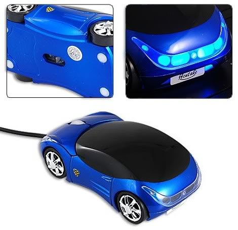 Počítačová optická myš, modré autíčko