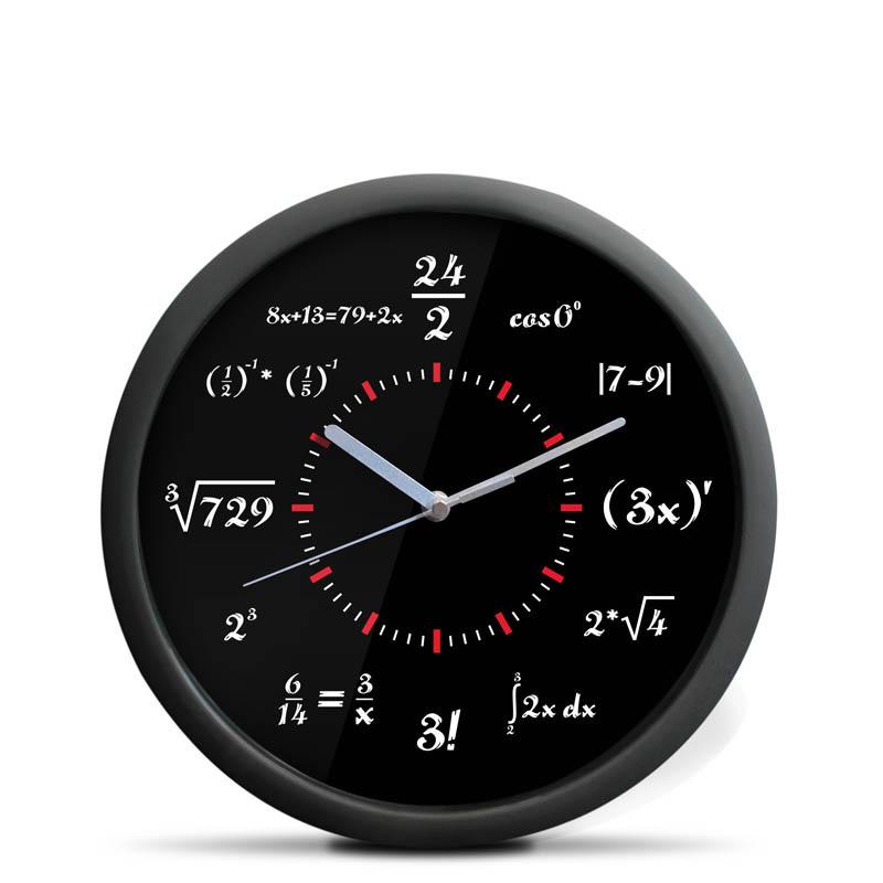 Matematické nástěnné hodiny Deluxe, Černé průměr 30 cm