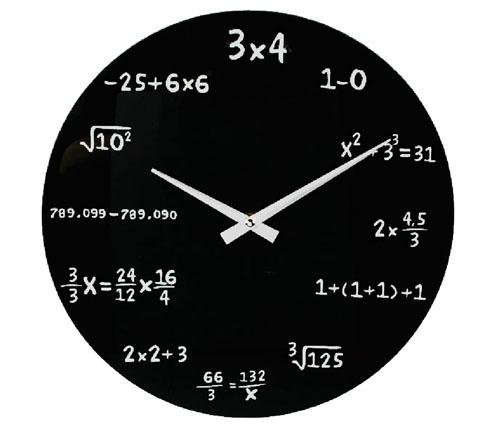 Matematické skleněné hodiny - Černé