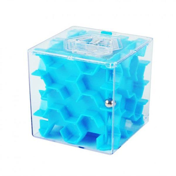 Malý labyrint na peníze, Modrý 6,5 x 6,5 x 6,5 cm