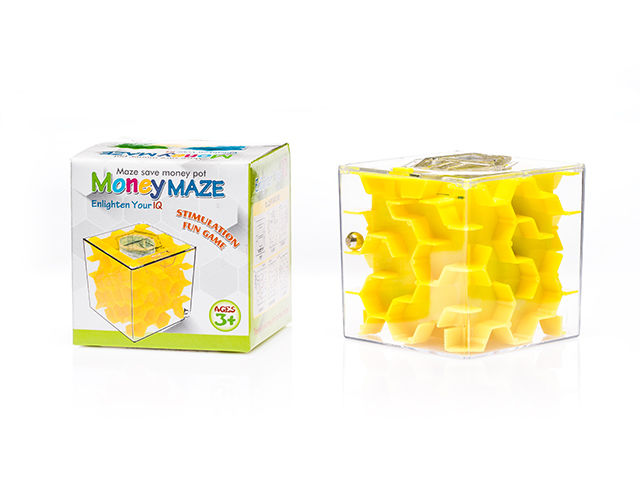 Malý labyrint na peníze, Žlutý 6,5 x 6,5 x 6,5 cm