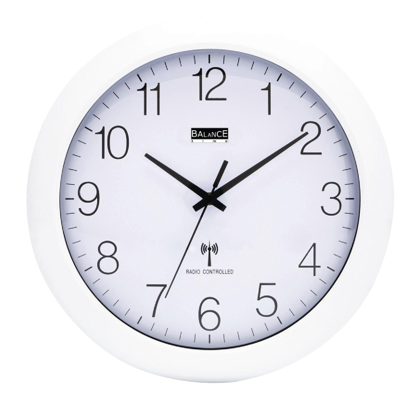 Balance Bílé nástěnné hodiny řízené rádiem, průměr 30 cm