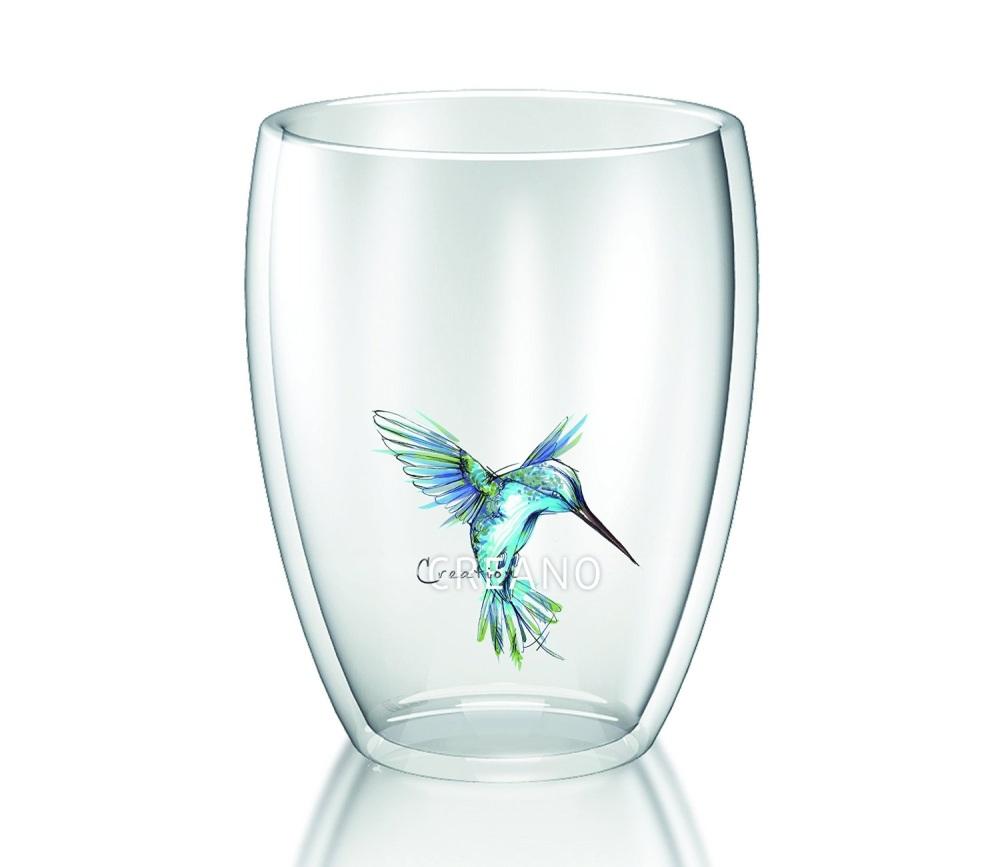 Creano šálek 250 ml Hummi Bird modrý z dvojitého skla