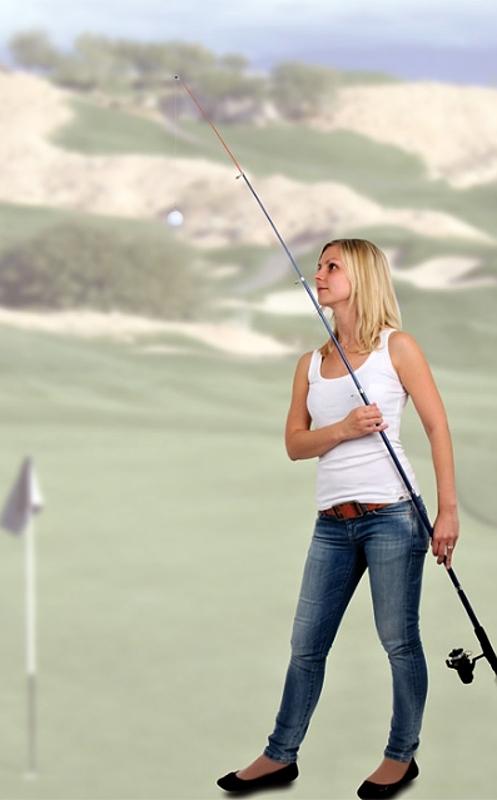 Chytání golfových míčků rybářským prutem