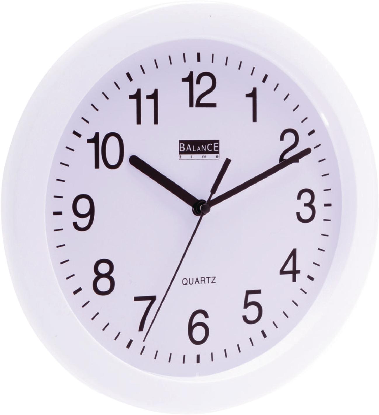 Balance Nástěnné plastové hodiny, Bílé 25 cm