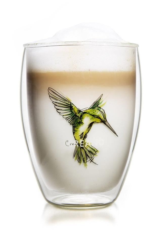 Creano šálek 250 ml Hummi Bird zelený z dvojitého skla
