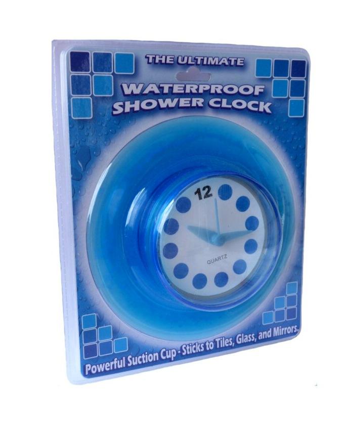 Vodotěsné hodiny do koupelny, Modré průměr 14 cm