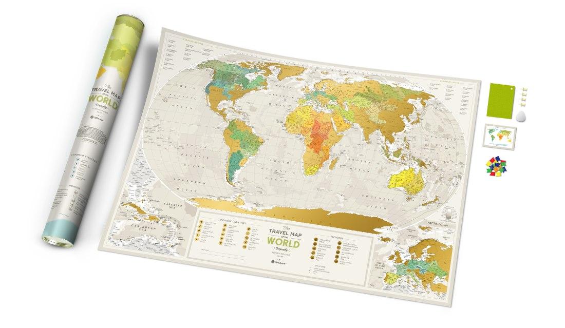 Stírací mapa světa Travel Map Geography