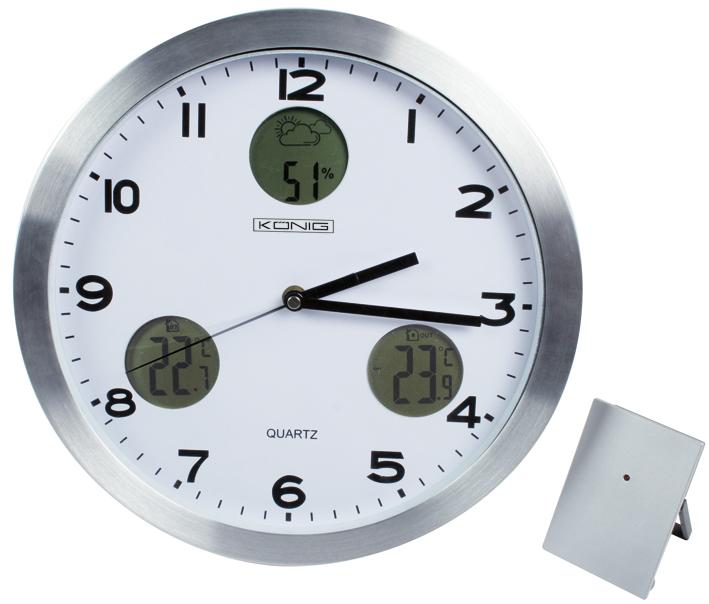 Nástěnné hodiny Konig KN-CL30 s venkovním čidlem