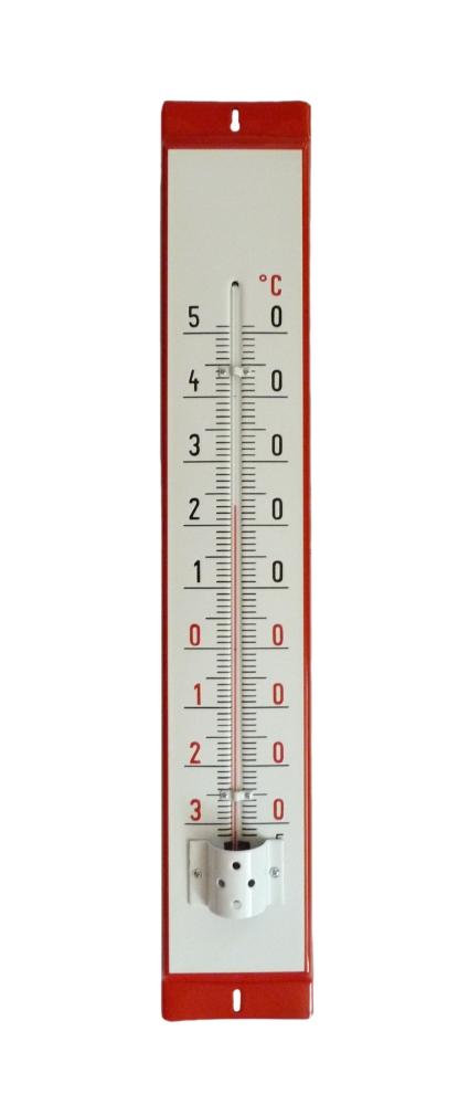 Venkovní teploměr smaltovaný, Červenobílý 860 x 140 mm