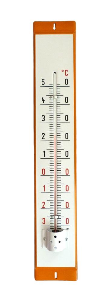 Venkovní teploměr smaltovaný, Oranžovobílý 860 x 140 mm