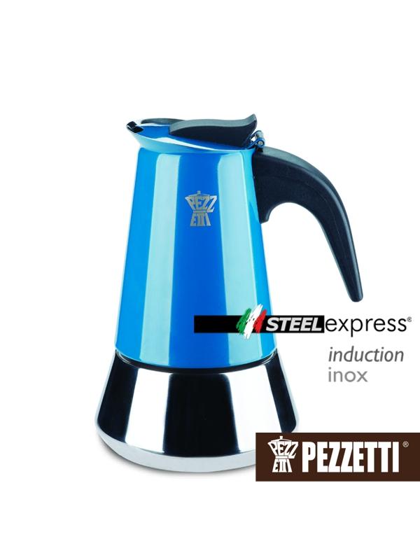 Pezzetti STEELEXPRESS nerez moka konvice, 2 šálky, Modrá