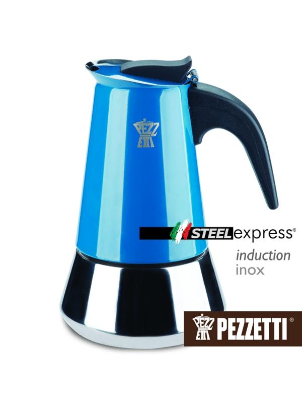 Pezzetti STEELEXPRESS nerez moka konvice, 4 šálky, Modrá