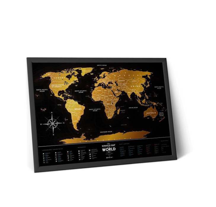 Stírací mapa světa, Travel Map Black, 80 x 60 cm