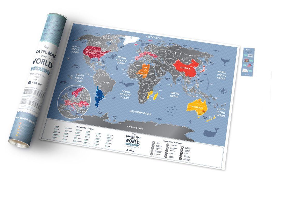 Stírací mapa světa Travel Map Weekend World