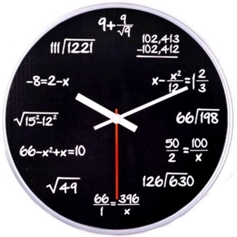 Matematické plastové hodiny, Černé průměr 30 cm