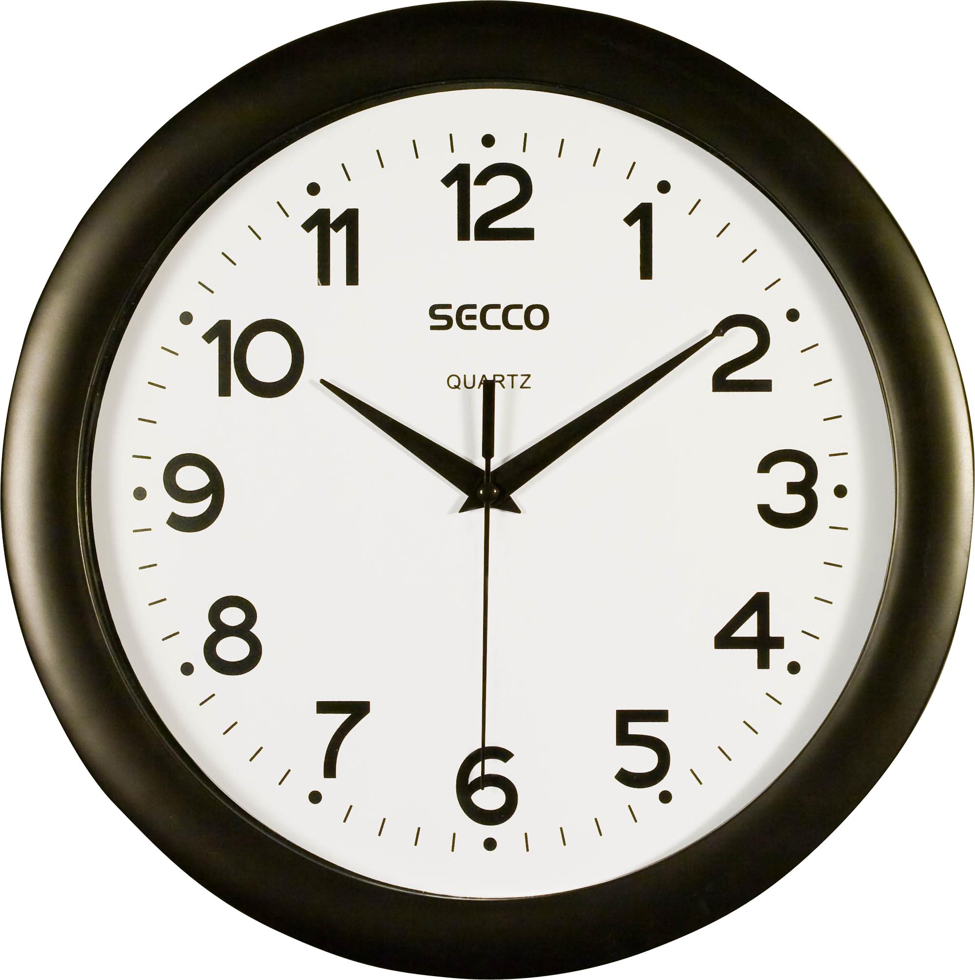 Secco Černé nástěnné hodiny, Průměr 28 cm