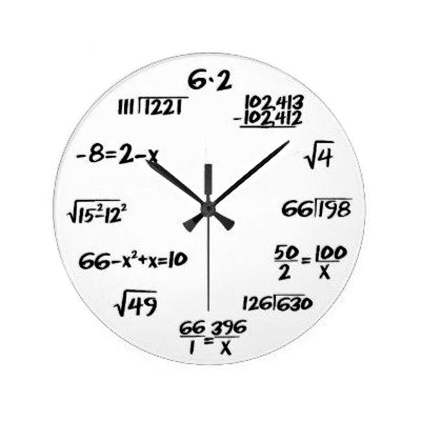 Bílé matematické hodiny 30 cm