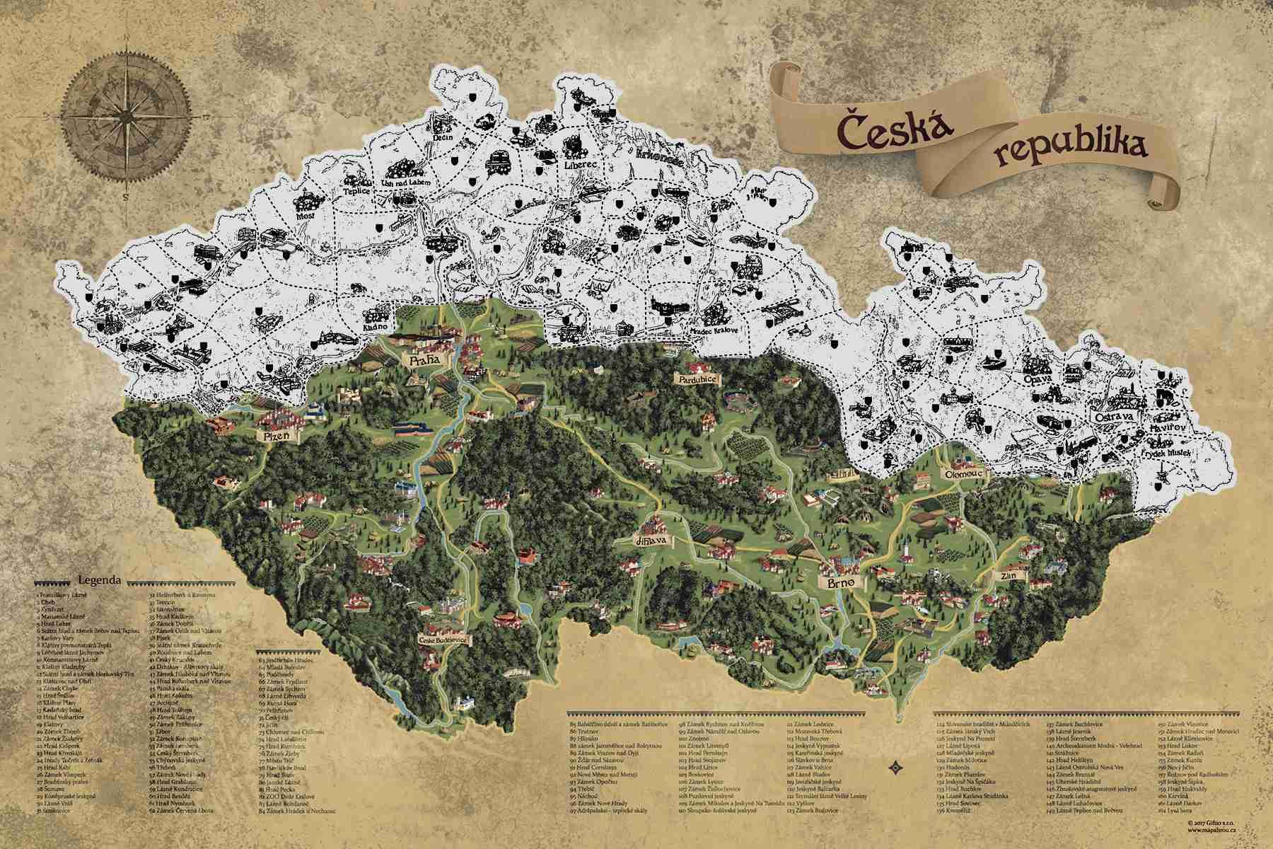 Stírací mapa Česka Deluxe XL, Stříbrná