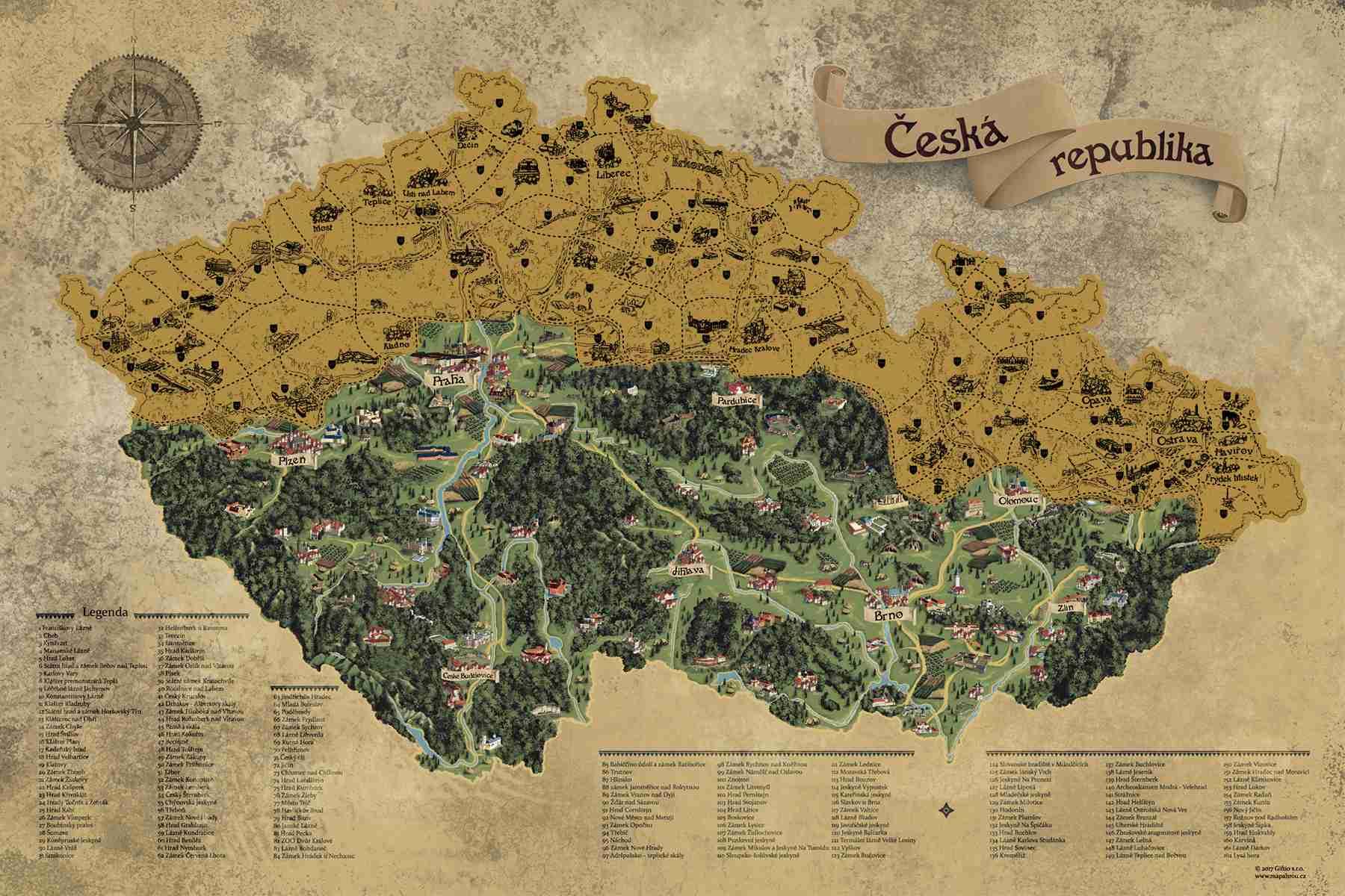 Stírací mapa Česka Deluxe XL, Zlatá
