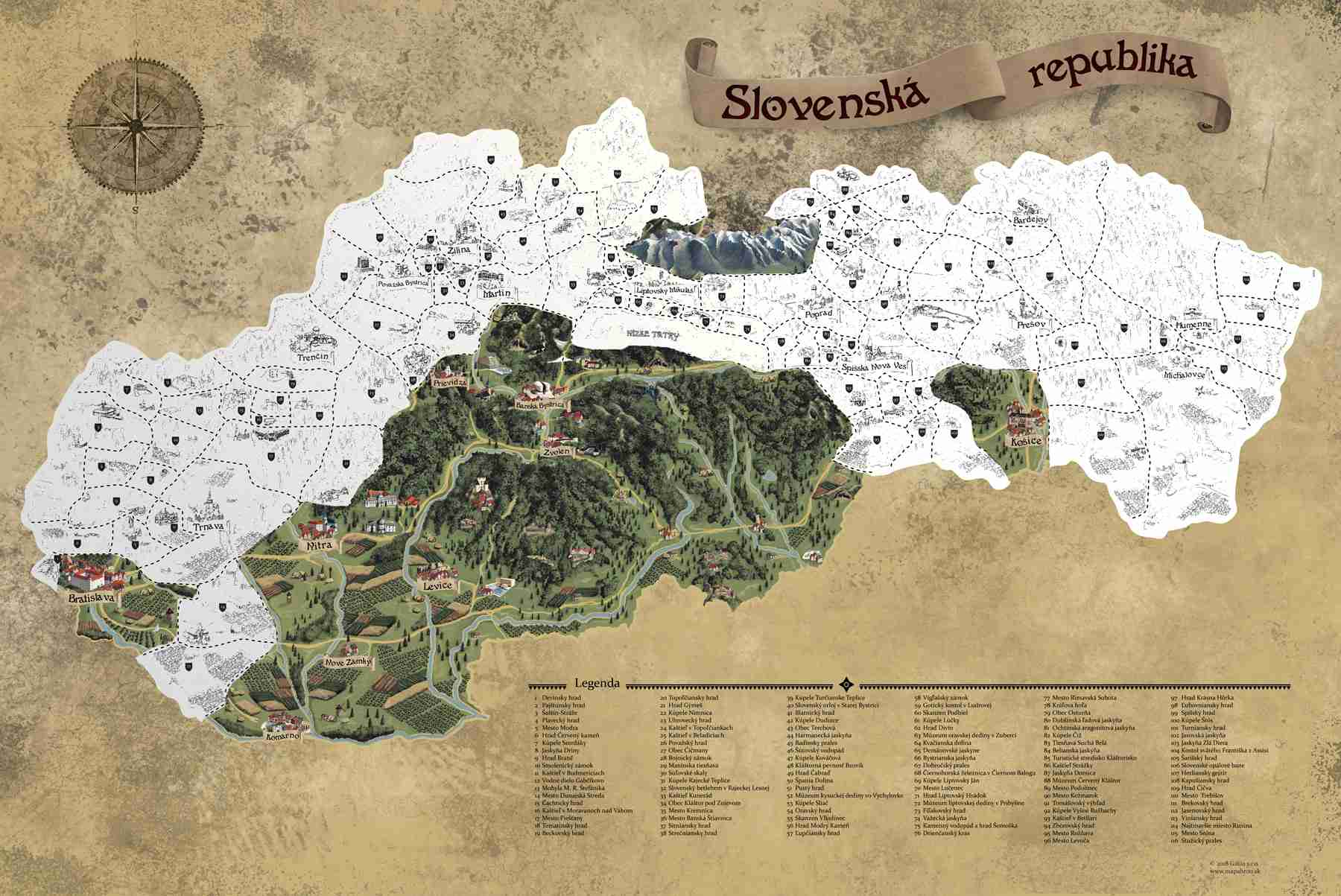 Stírací mapa Slovenska Deluxe XL, Stříbrná