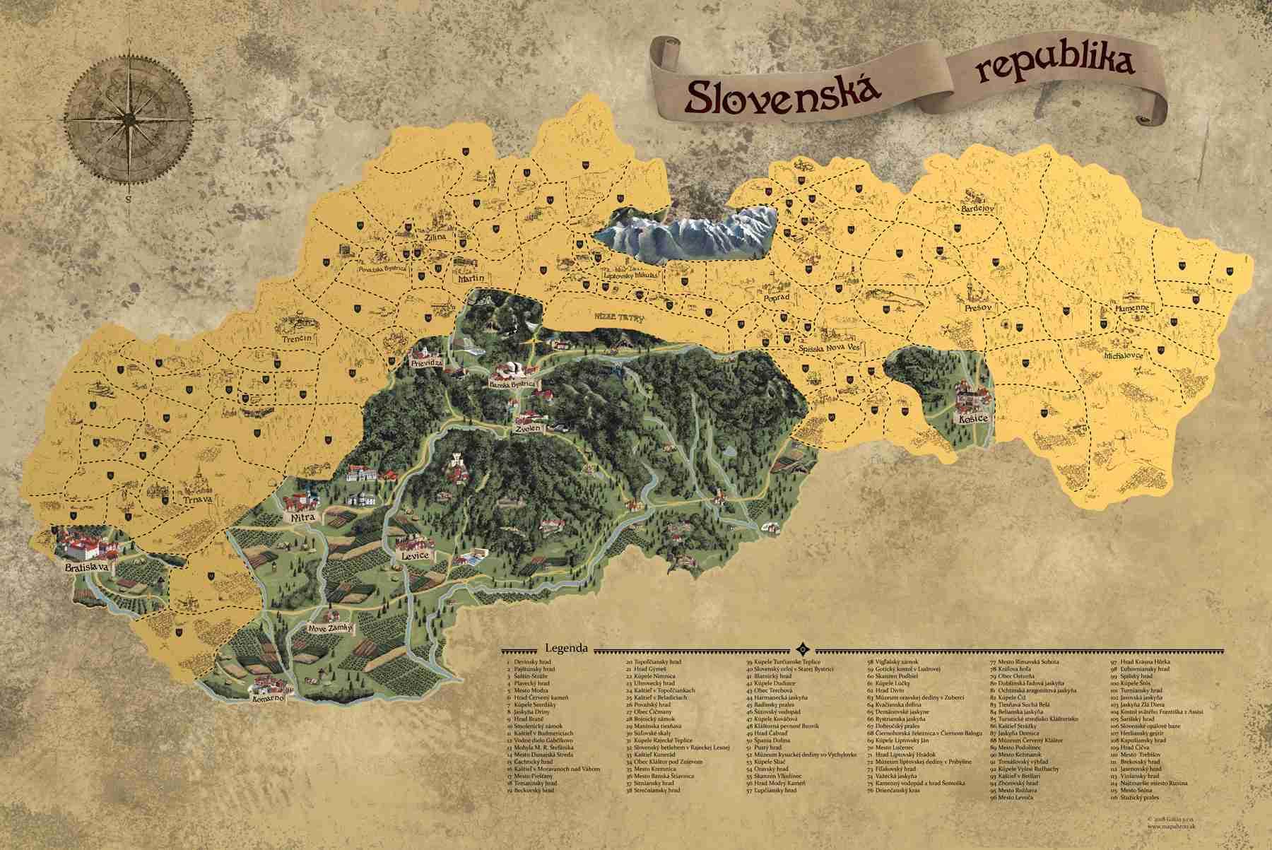 Stírací mapa Slovenska Deluxe XL, Zlatá