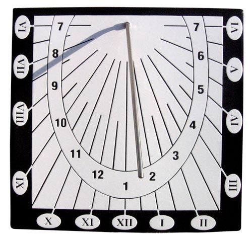 Nástěnné kovové sluneční hodiny 30 x 30 cm, Bílé