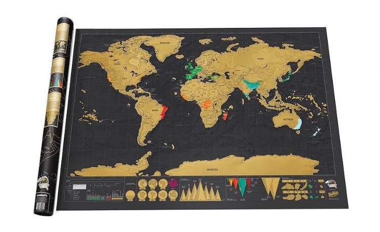 Stírací mapa světa deluxe černá 83 x 60 cm